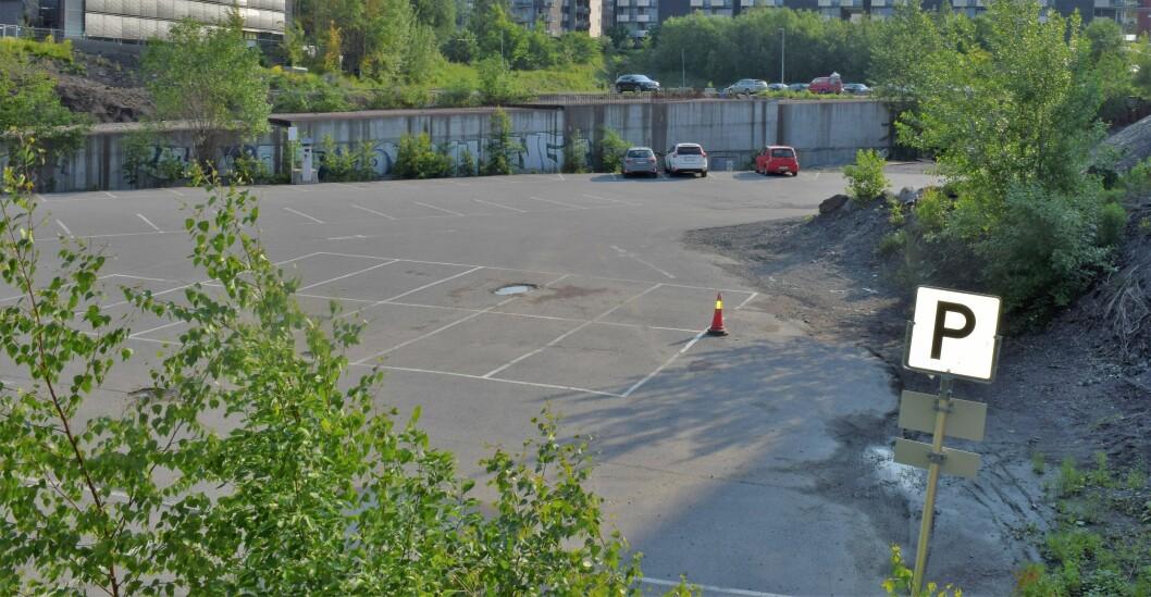 Dette er området der det er ønskelig for folket i Nydalen og bygge park. Foto: Magnus Evenstuen