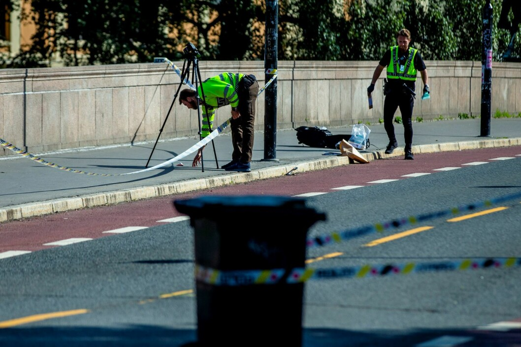 Hendelsen skjedde i morgentimene på Grünerløkka i Oslo. Politiet brukte elektrosjokkvåpen og avfyrte varselskudd under pågripelsen. Foto: Stian Lysberg Solum / NTB scanpix