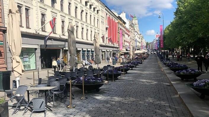 Paradegaten for Oslo Sentrum, Karl Johans gate, siste søndag i mai 2019. Burde søndagene bli handledager i sentrum?