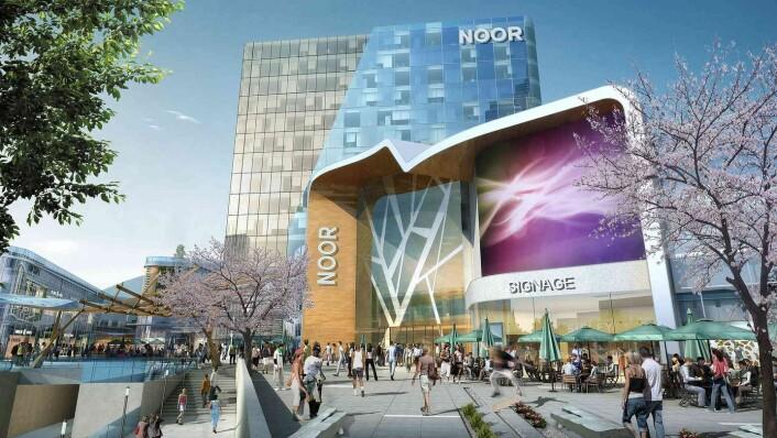 Slik så arkitektene for seg det nye shoppingssenteret på Økern - Noor. Illustrasjon: Benoy