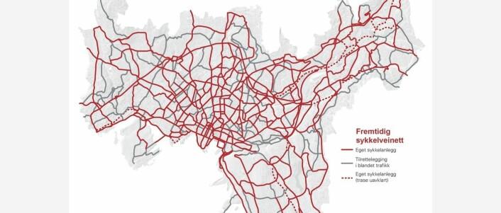 Den omfattende sykkelveiutbyggingen er sløsing med penger, synes Camilla Wilhelmsen. Kart: Asplan Viak