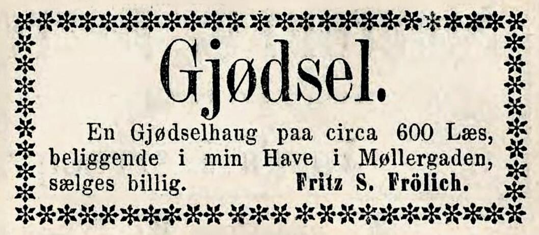 Gjødselhaug til salgs. Morgenbladet, 1866