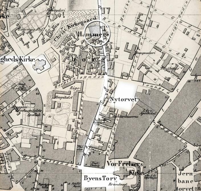 """Rittmester J.W.G. Næsers kart over Christiania 1860. <a href=""""https://www.oslo.kommune.no/OBA/kart/"""" target=""""_blank"""" rel=""""noopener"""">Oslo Byarkiv</a>"""
