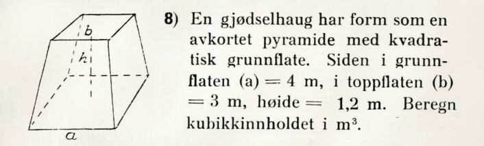Arbeidsoppgave fra Regnebok for folkeskolen, 1924.
