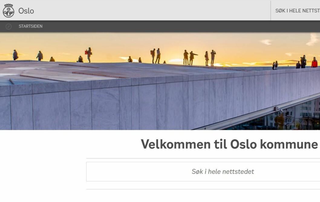 Oslo kommune vil ikke stille til intervju om saken, men skriver i en epost at de beklager publiseringen sterkt og at de vil gjennomgå sine rutiner. Illustrasjon: Skjermdump Oslo kommunes nettside