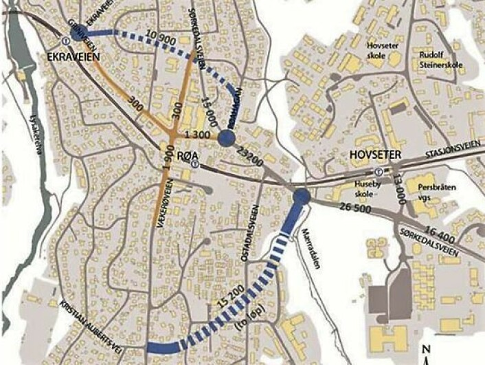 Et av de foreslåtte alternativene til Røatunnel, som er foreslått. Skisse: Bymiljøetaten