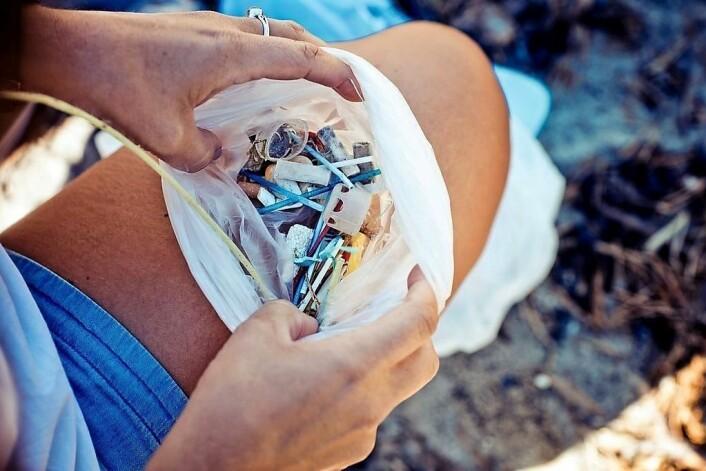 Veldig mange små plastdingser havner i havet til slutt. Q-tipspinner, sigarettfiltre, engangslinser, og mye annet. I fjorden blir de løst opp til mikroplast som skader og dreper livet i havet. Foto: Oda Hveem