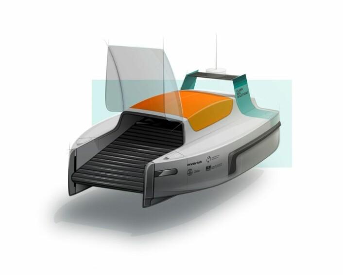 Bymiljøetaten og Oslo Havn, samt Clean Sea Solutions arbeider med å utvikle en rydderobot for bruk i Indre Oslofjord. Rydderoboten kan se omtrent ut slik (dette er ikke en endelig versjon). Illustrasjon: Clean Seas Robot / Bymiljøetaten