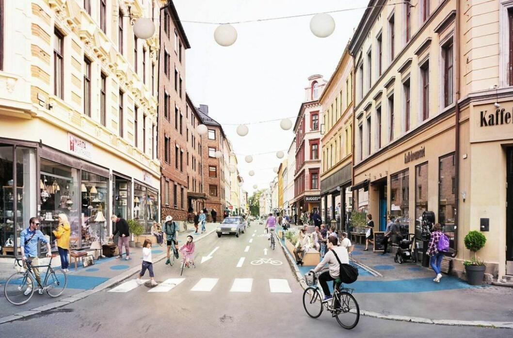 P-plasser er fjernet i Markveien og flere andre gater på Grünerløkka. Nå vurderer det rødgrønne byrådet å fjerne enda flere p-plasser ulike steder i byen, blant annet på Grünerløkka. Illustrasjon: Bymiljøetaten / Oslo kommune