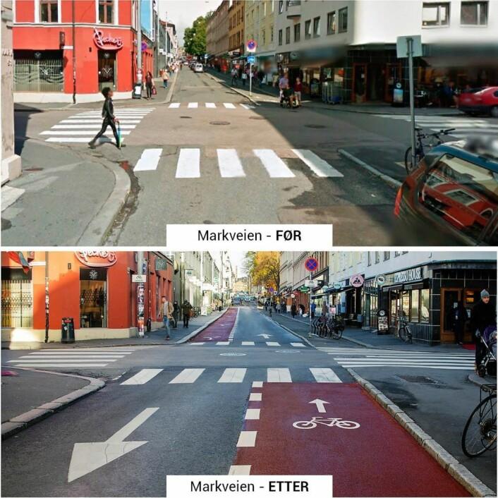 Bymiljøetatens egne bilder av Markveien før og etter at p-plasser er erstattet med sykkelvei. Fotomontasje: Bymiljøetaten / Oslo kommune