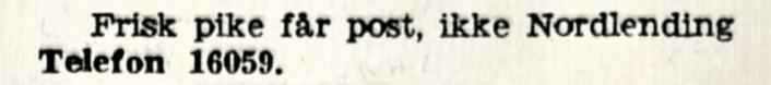 Jobb ledig for frisk ikke-nordlending. Aftenposten, 1934