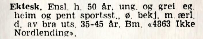 Bekjentskap ønskes med ærlig dame som ikke er nordfra. Aftenposten, 1944