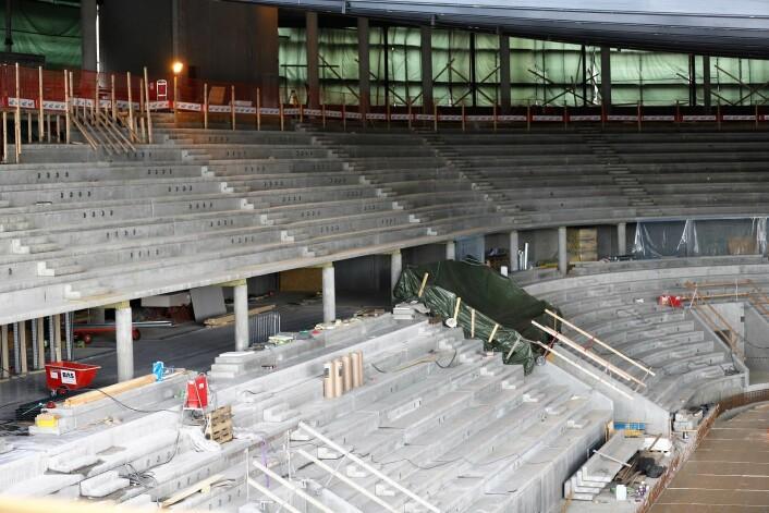 I tillegg til isflate blir det tre nivåer for publikum. Og det blir behovsstyrt ventilasjon, som gir store energibesparelser. Foto: André Kjernsli