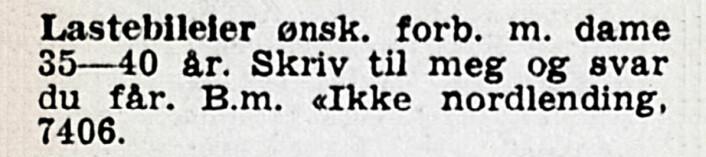 Kresen lastebileier. Adresseavisen, 1956