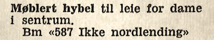 Hybelkaniner, men ikke nordlendinger. Drammens Tidende, 1960