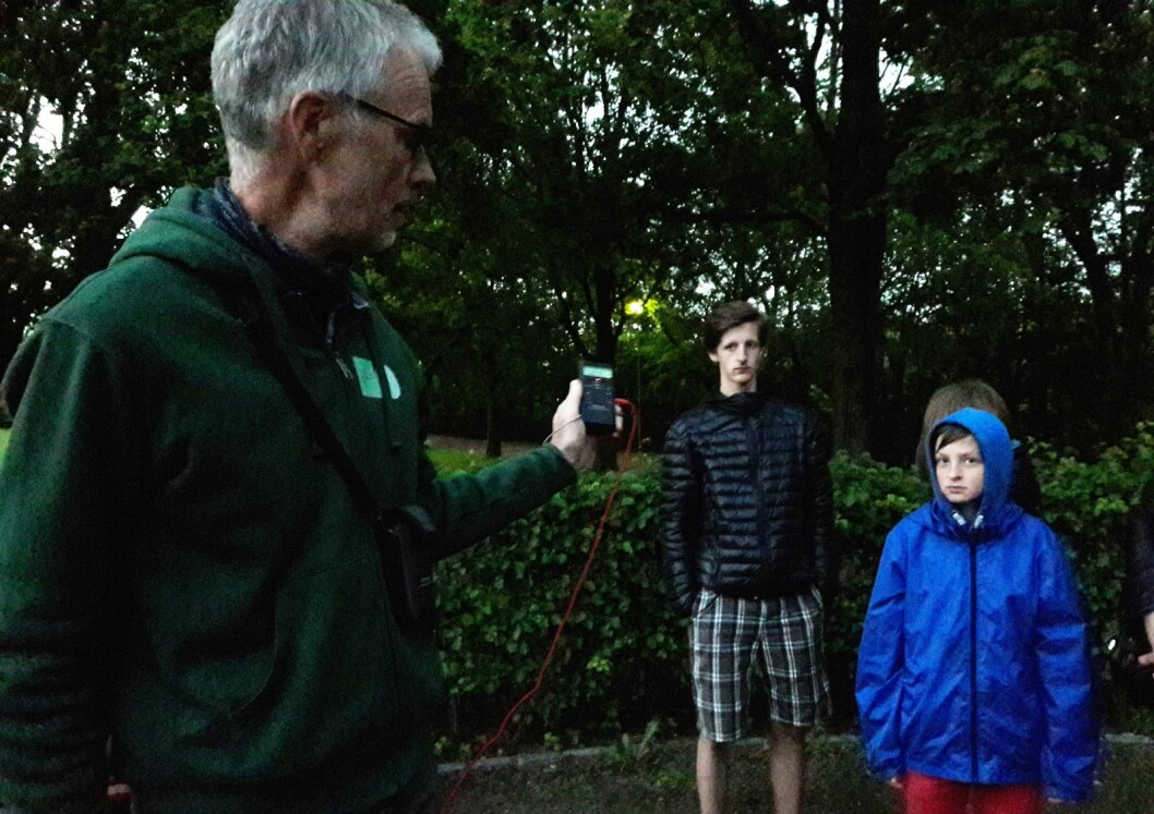 Dovydas (11) (t.h.) og Skirgaila Skebas (14) var med mamma Inga på flaggermussafari i Frognerparken. Kjell Isaksen holder ultralyddetektoren i handa, og det er like før flaggermusene gjør entre. Foto: Anders Høilund