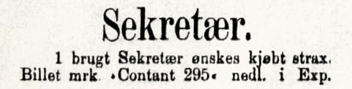 Sekretær: En kommode med hyller. Aftenposten, 1886