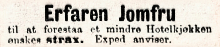 Annonsen som ga navn til annonseboka - utgitt på Vigmostad & Bjørke i 2018 - som er bakgrunnen for denne spalten. Jomfru er her en yrkestittel for en kvinne som hjelper til i husholdningen. Aftenposten, 1896