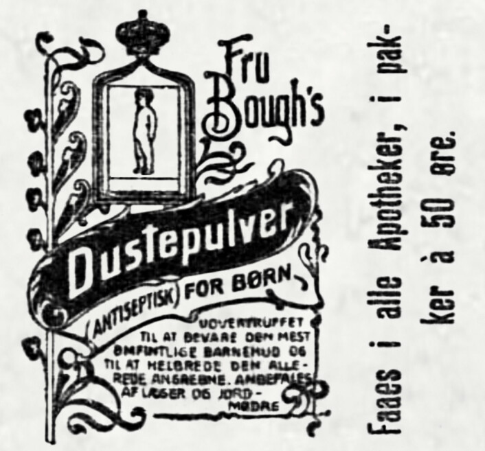 Dust: Her i betydningen støv, til å drysses på huden. Aftenposten, 1902