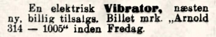 Dette får vi håpe var et massasjeapparat for muskler og hud. Modellene var formet som en liten hjulvisp. Aftenposten, 1914