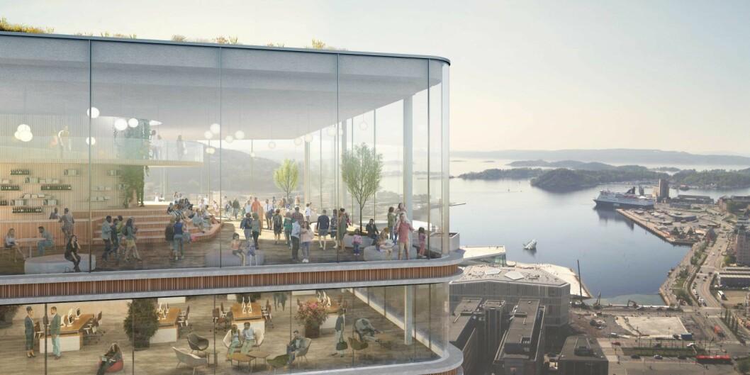 """Hvem får denne utsikten gratis i 10 år? KLP eiendom vil ha idékonkurranse for å finne en verdig organisasjon eller bedrift til å være i """"verdens mest miljøvennlige"""" bygg. Illustrasjon: Kristin Jarmund/C.F. Møller/Rodeo arkitekter"""