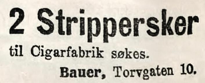 Strippersker – også kalt streppersker – fjernet stilken fra tobakksbladene før videre behandling. Social-Demokraten (en forløper for Arbeiderbladet / Dagsavisen), 1916