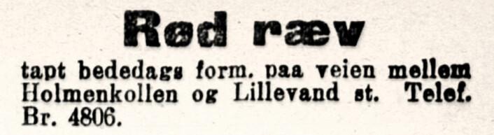 Ræv: rev, her revepels. Aftenposten, 1921