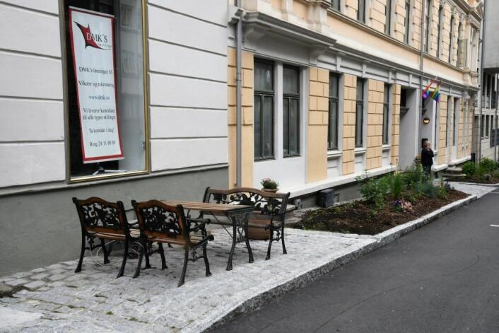 Etter 15 års venting er endelig forhagene hos Vika borettslag i Huitfeldts gate blitt en realitet. Foto: Christian Boger