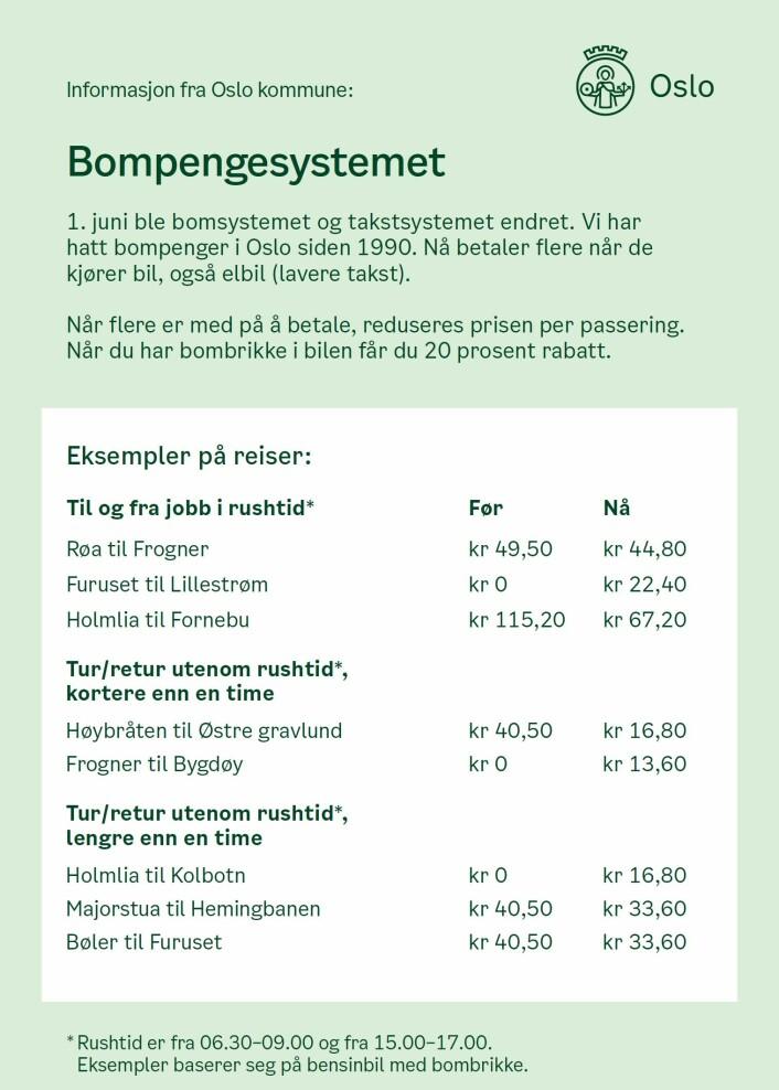 Slik ser brosjyren ut, og kommunens plan er at samtlige husstander skal motta den iløpet av inneværende uke. Illustrasjon: Oslo kommune