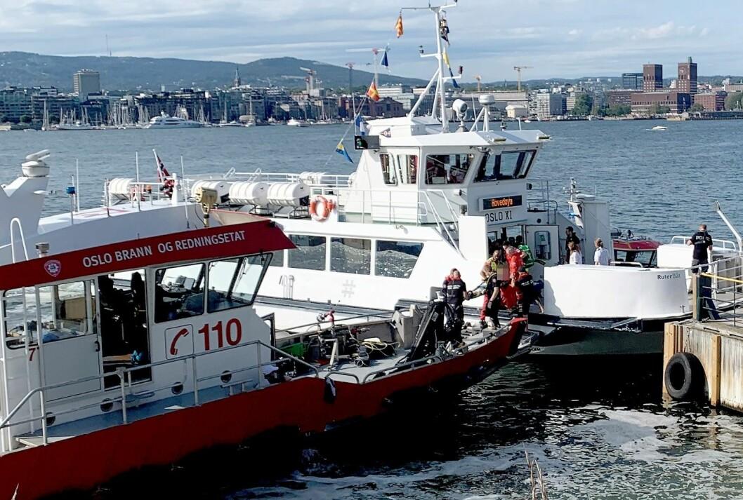 """Det er fortsatt uklar hva som forårsaket ulykken der oslofergen """"Oslo XI"""" kolliderte med kaia på Hovedøya lørdag ettermiddag. Foto: Lars Eide / NTB scanpix"""