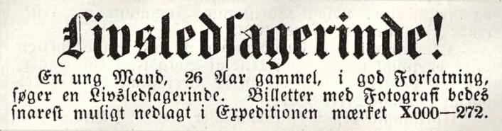 En ung Mand, 26 Aar gammel, i god Forfatning, søger en Livsledsagerinde. Christiania Intelligentssedler, 1865