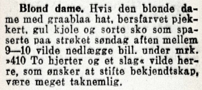 Betatt av blondine med beige-farget pjekkert (kort dobbeltknappet frakk). Aftenposten, 1920