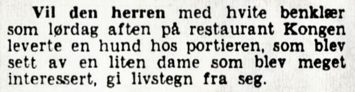 Var det herren, benklærne, hunden eller portieren som ble sett av den lille damen? Aftenposten, 1920
