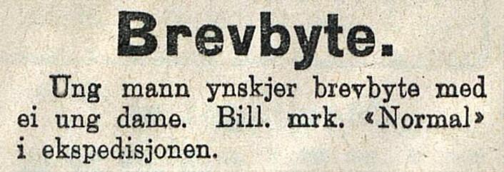 """Nynorskavisen """"Den 17de Mai"""" utkom i hovedstaden, her søker en normal herre en brevvenn. 1925"""