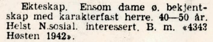 Ensom dame ønsker ekteskap med karakterfast nazist. Aftenposten, 1942