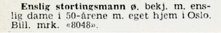Også på tinget kan det bli ensomt. Aftenposten, 1946
