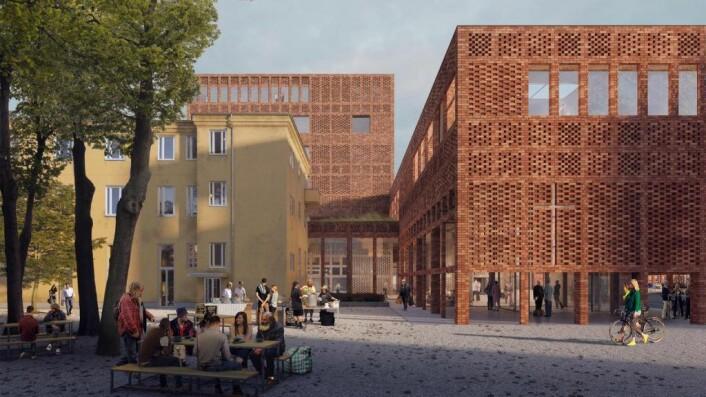 Tegningene av det planlagte nybygget viser et moderne teglsteinsbygg med åpen uteplass. Illustrasjon: Transborder Studio