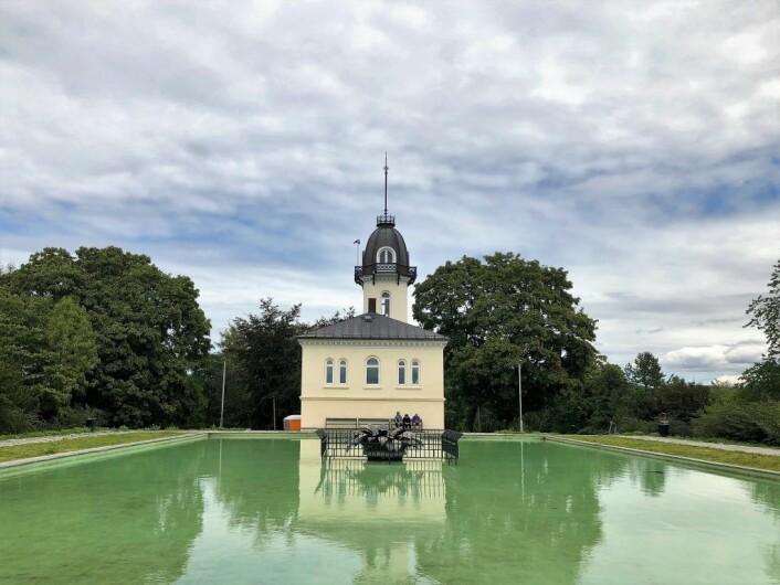Bassenget ved Tårnhuset på St. Hanshaugen, her med vann sommeren 2018. Foto: Christine Thune