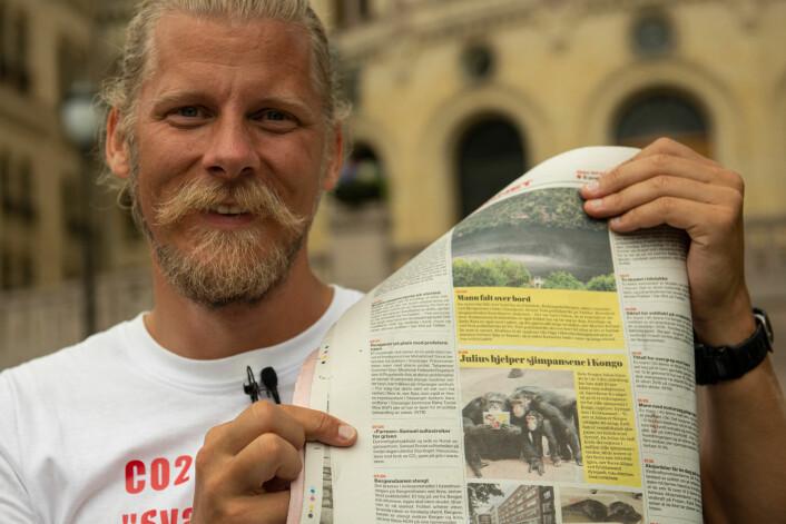 Femte dag og Samuel Rostøl må le litt over hva landets største avis, VG, skriver om ham og sultestreiken. Foto: Morten Lauveng Jørgensen