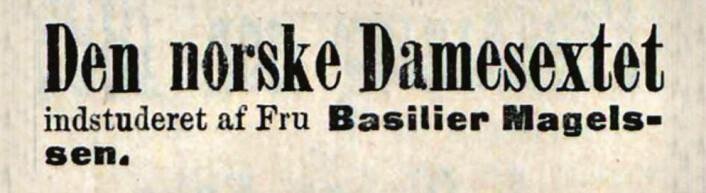 Dameorkester på Tivoli Theater. Dagbladet. 1893