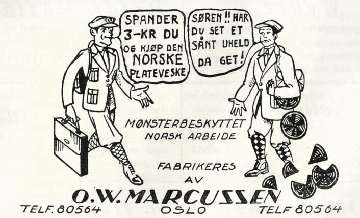 Med Marcussens veske unngår du at knæsje plater knuser. Ukjent avis/år