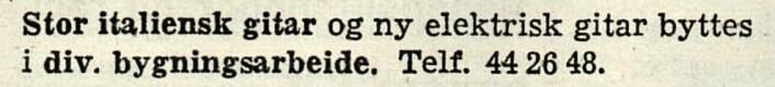 Har gitar, ønsker hus. Arbeiderbladet, 1955