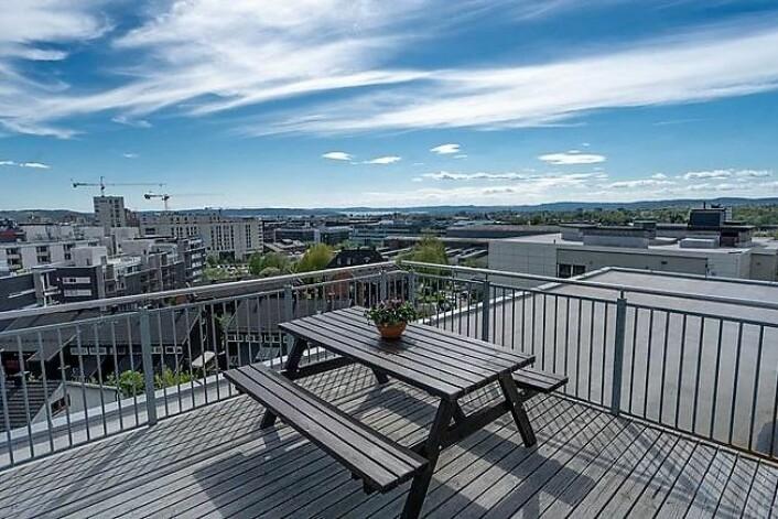 Utsikten fra takterrassen i Nydalen er det ingen ting å si på. Foto: Mads Andersen