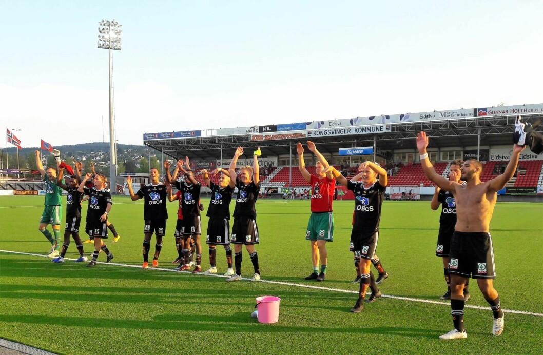 Endelig kunne Skeid juble for en seier på bortebane i årets OBOS-liga. 2-0 over Kongsvinger er et sterkt resultat. Foto: Anders Høilund
