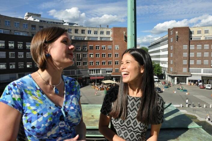 Byutviklingsbyråd Hanna E. Marcussen og miljøbyråd Lan Marie Nguyen Berg har all grunn til å smile før valget. MDG fortsetter å oppnå svært gode tall i Oslo-målinger. Foto: Arnsten Linstad