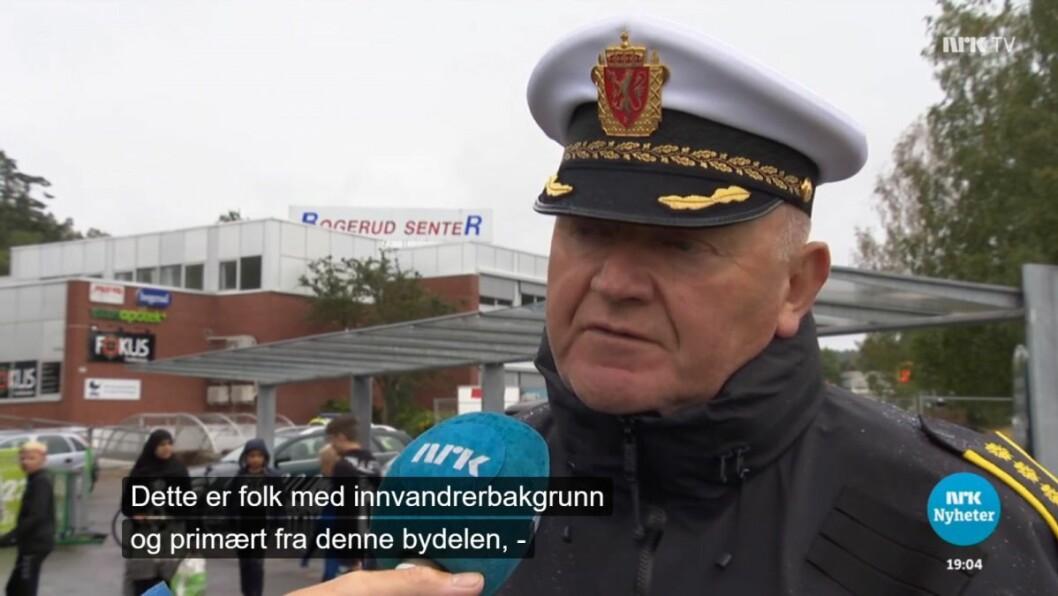 Fungerende visepolitimester i Oslo, Johan Fredriksen, retter fingeren mot aggressive ungdommer med innvandrerbakgrunn. Skjermdump: NRK Dagsrevyen