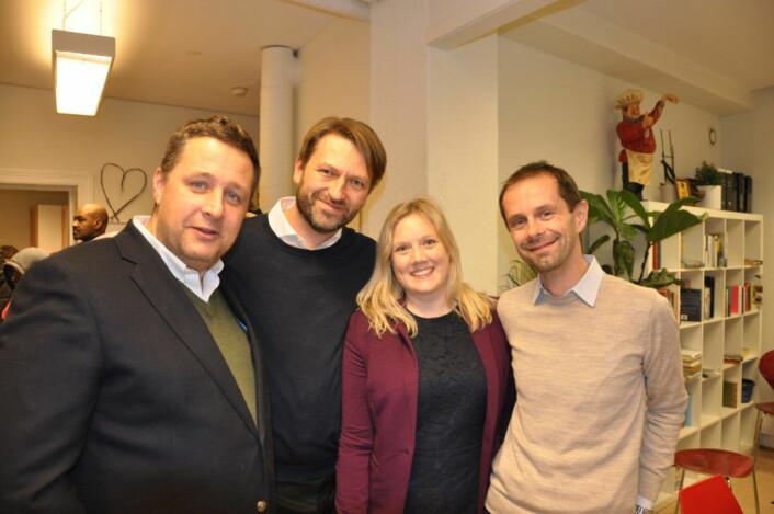 Borgerlige samarbeidskamerater, fra venstre: Espen Andreas Hasle (KrF), Eirik Lae Solberg (H), Aina Stnersen (Frp) og Hallstein Bjercke (V). Foto: Arnsten Linstad