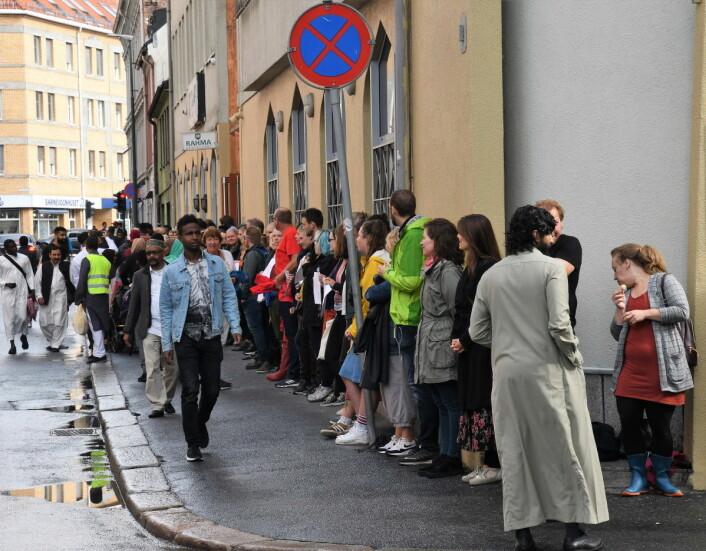 Oppslutningen om søndagens støtteaksjon for oslomoskéene var svært god. Foto: Christian Boger