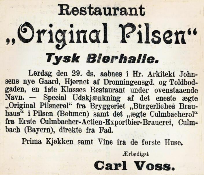 Original Pilsen åpner dørene. Dagbladet, 1898