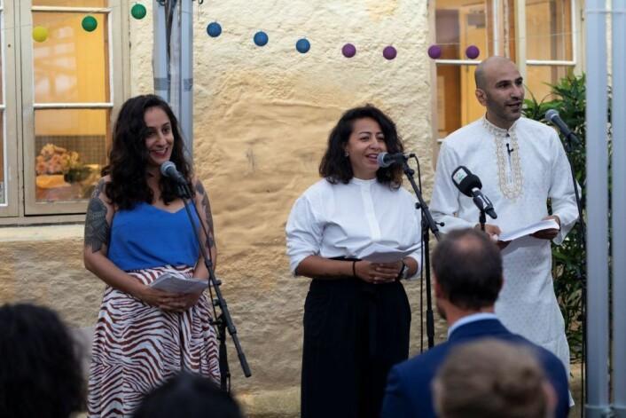 Grunnleggerne av Salam, fra venstre Begard Reza, Hasti Hamidi og Thee Yezen Al-Obaide. Foto: Olav Helland